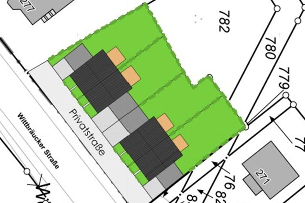 So liegen die geplanten Doppelhäuser: Zwischen Häuser und Wittbräucker Straße wird es noch eine Privatstraße mit Lärmschutz geben.