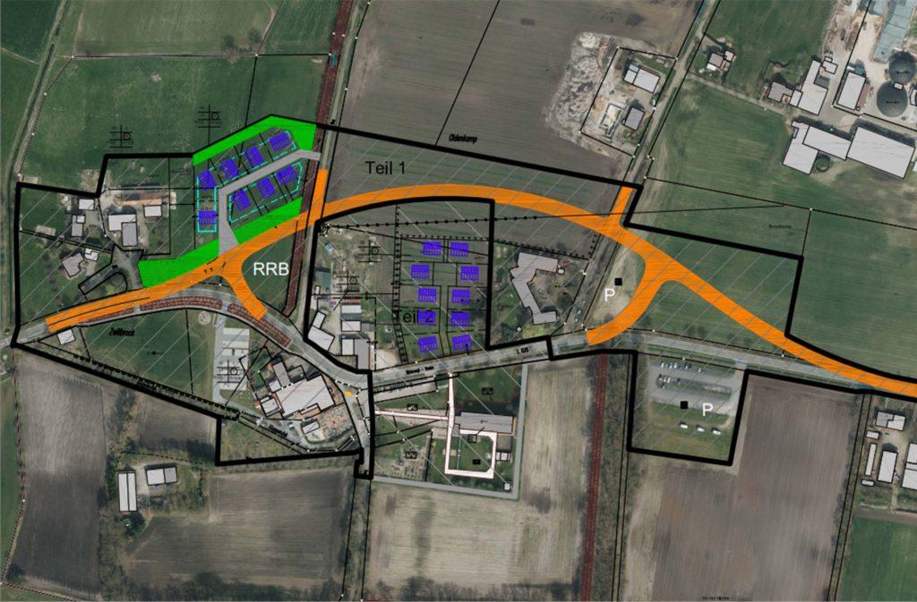 Die L608 soll künftig um den Zwillbrocker Dorfkern herumführen. Zwei Baugebiete sollen entstehen, eines mit zehn und eines mit acht Baugrundstücken.