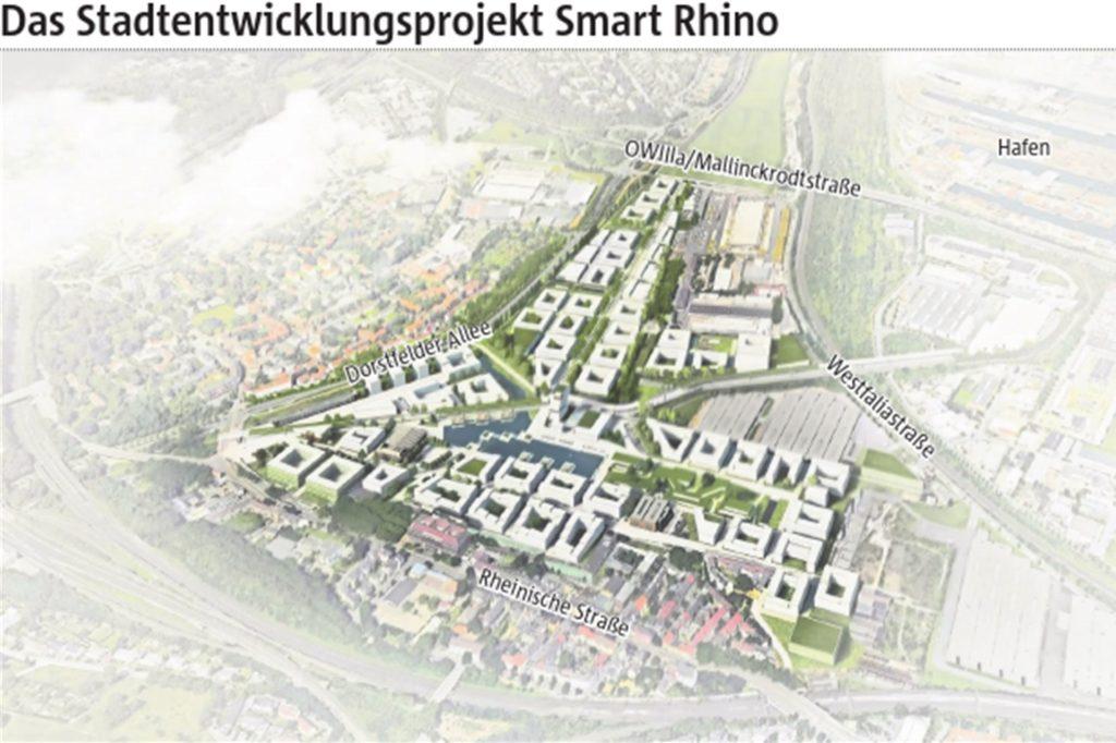Diese Grafik zeigt, wie Smart Rhino in Dortmund Mitte der 2030er-Jahre aussehen könnte und wo das Quartier entsteht - zwischen Rheinischer Straße und OWIIIa am Hafen.