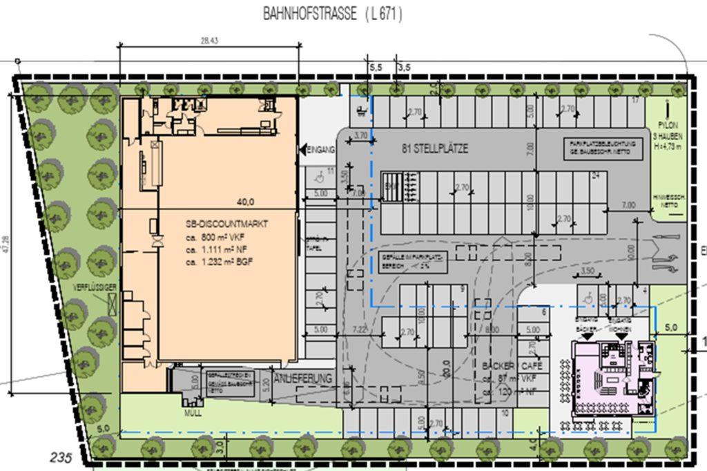 So soll das Grundstück an der Bahnhofstraße aussehen. Westlich ist der Netto geplant, südöstlich der Bäcker mit Café sowie die zwei Wohnungen.