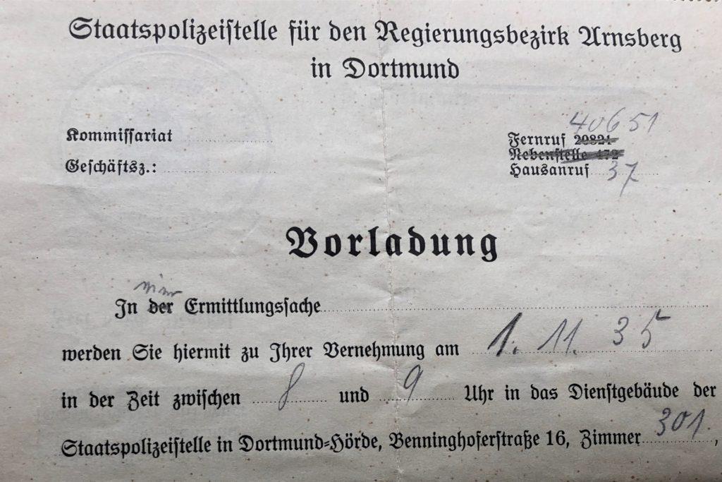 So sah die gefürchtete Vorladung auf die Gestapo-Wache nach Hörde aus