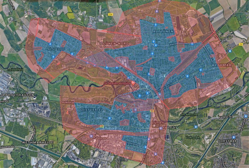 Der Anbieter Bird plant, die E-Scooter vor allem in der Stadtmitte und in Alstedde anzubieten (blau). Rot markiert sind die Bereiche, in denen die Roller nicht geparkt werden können.