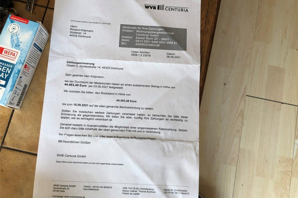 Mit diesem Schreiben forderte die Firma WVB Centuria über 44.000 Euro an Mietnachzahlungen von einem Dortmunder Paar