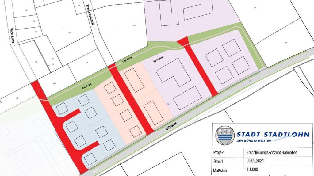 So sieht die von der Arbeitsgruppe Bahnallee favorisierte Erschließung für das ehemalige Spahn-Gelände aus. Die Wohnstraßen Kreuzwegstraße und Hagenkamp würden danach bis zur Bahnallee verlängert.