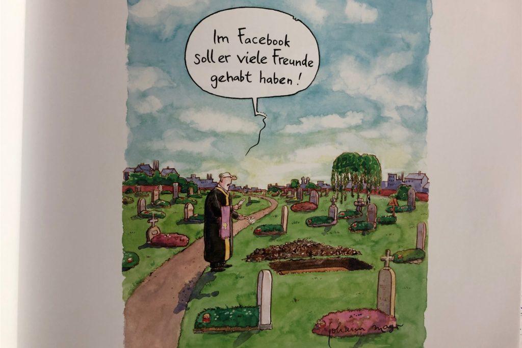 Ein Pfarrer allein bei einer Beerdigung. Traurig, aber auch nachdenklich machend.