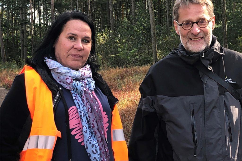 Die Geschäftsführer des Windparks AV 9: Dr. Bernhard Klocke (Stadtwerke Haltern) und Jessica Meier (RAG Montan Immobilien).